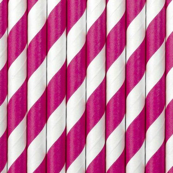 Papir Sugeroer med Striber, Pink Festartikler