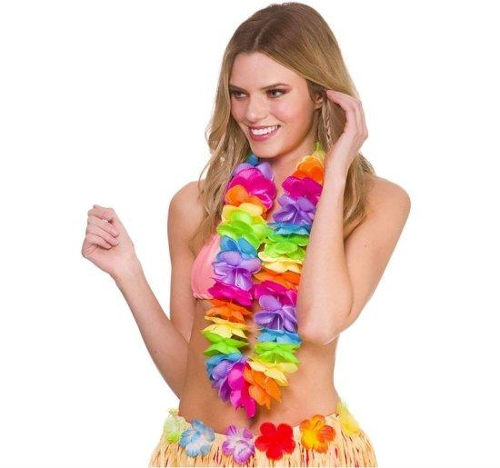 Deluxe Satin Hawaii Krans, Regnbue Tilbehoer