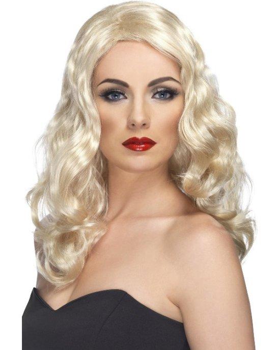 Glamouroes kroellet paryk, blond Tilbehoer