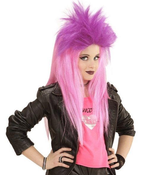 Neon Pink Punk Paryk, barn Tilbehoer