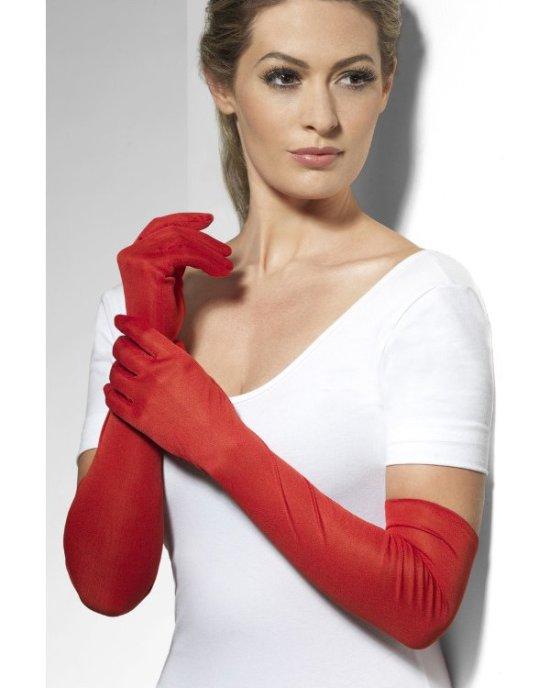 Roede handsker, lange Tilbehoer