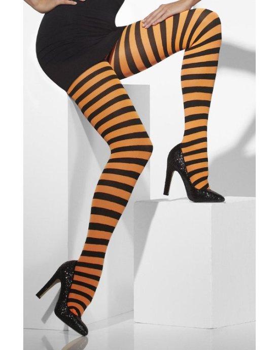 Tights, orange/sort stribede Tilbehoer
