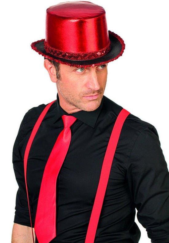 Top Hat m pallietter, roed Tilbehoer