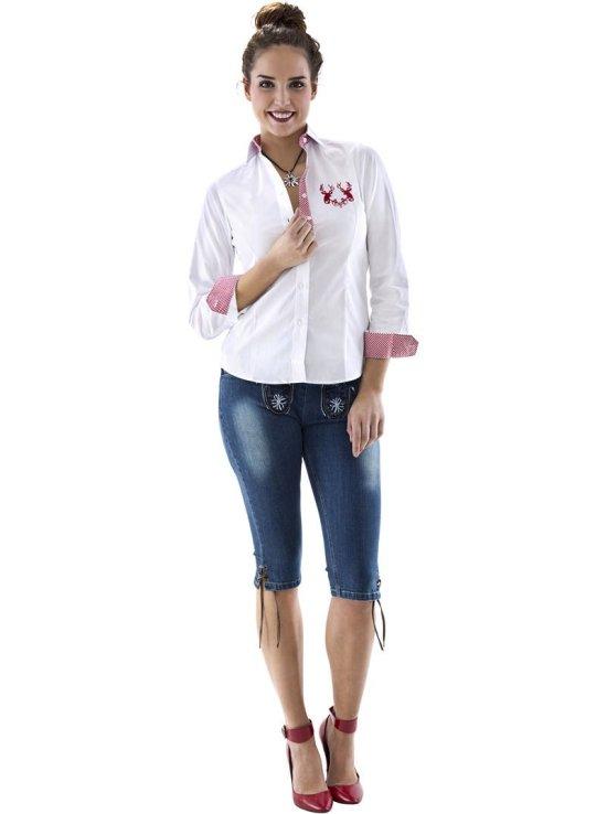 Dame Tyrolerskjorte, roed/hvid Kostumer