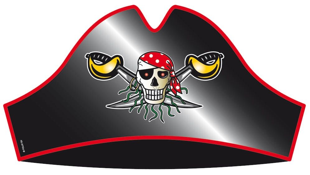 Rød pirat hat, papir fra folat fra temashop.dk