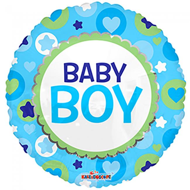Folieballon rund baby boy fra globos nordic fra temashop.dk