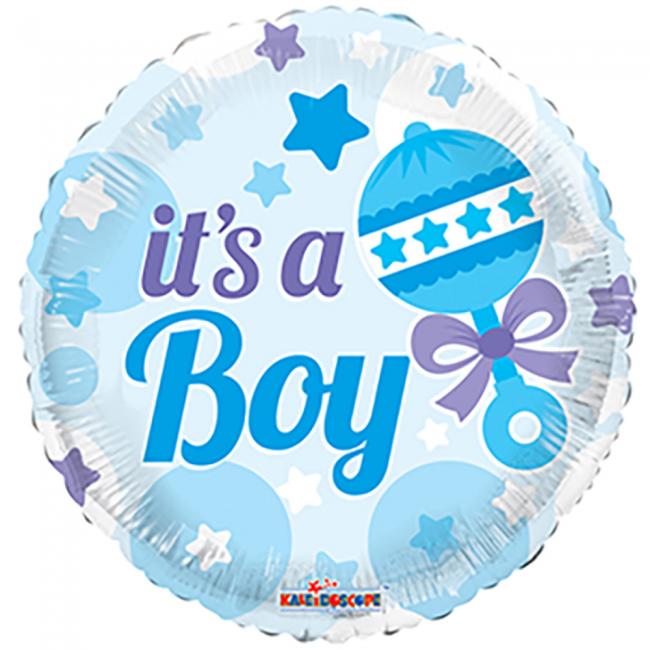 Folieballon rund sød baby boy fra globos nordic fra temashop.dk