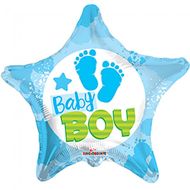 globos nordic Stjerne folieballon baby boy på temashop.dk
