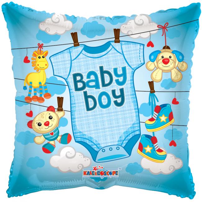 globos nordic Firkantet folieballon med teksten baby boy på temashop.dk