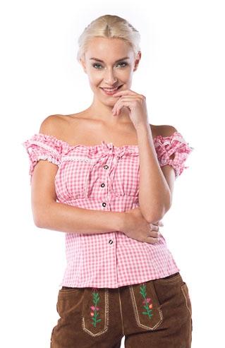 Tyrolerskjorte, pink/hvid fra partychimp på temashop.dk