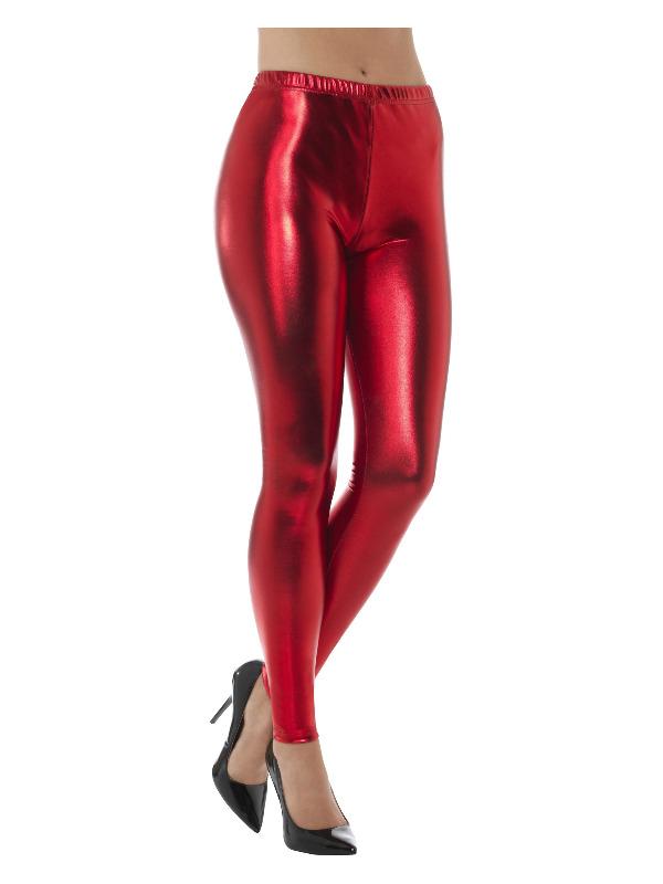 smiffys 80'er disko leggings, rød på temashop.dk
