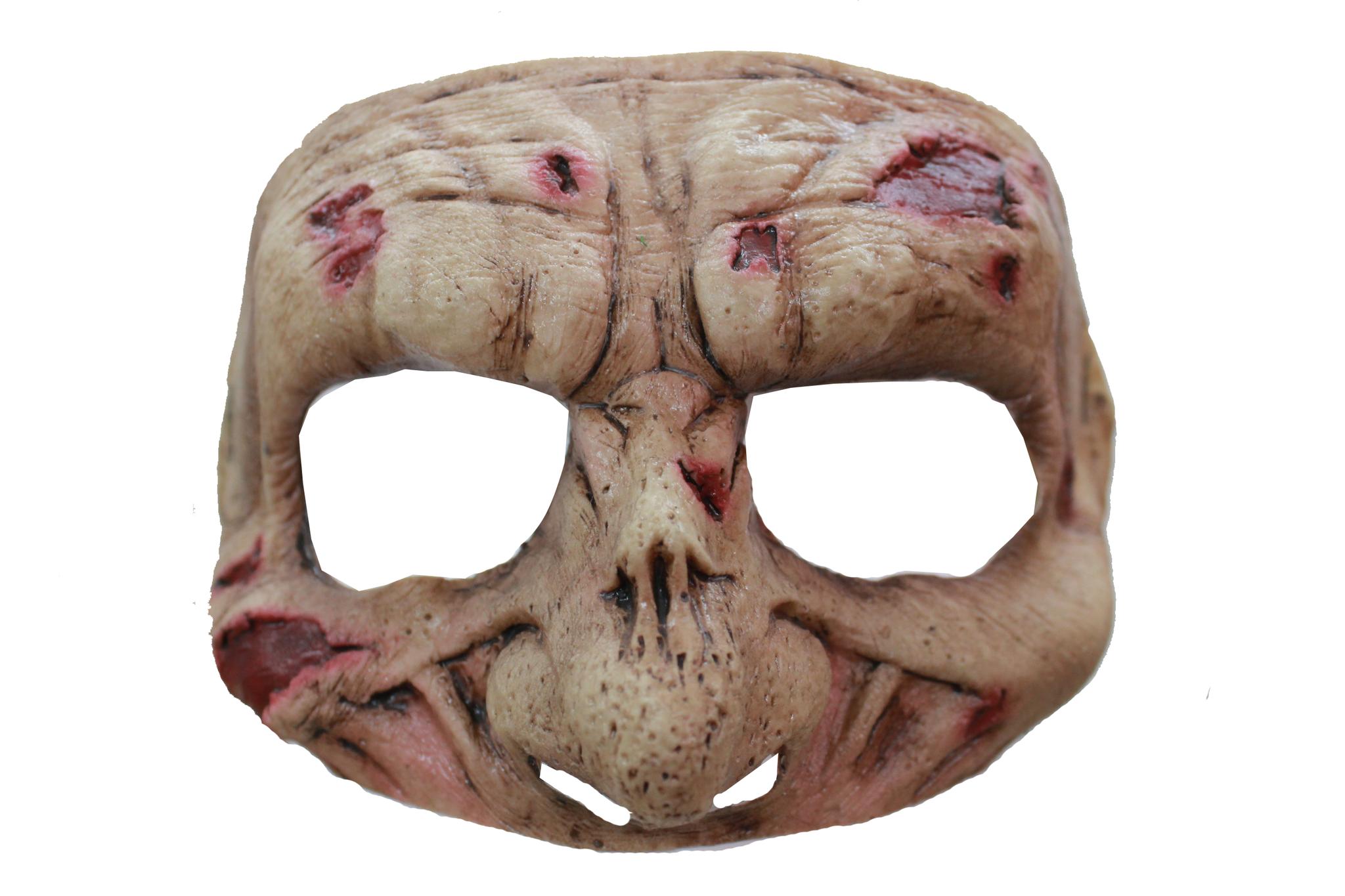 Halv maske zombie fra partychimp på temashop.dk