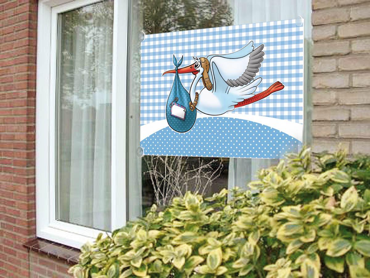 Lyseblå stork vindue dekoration fra folat fra temashop.dk