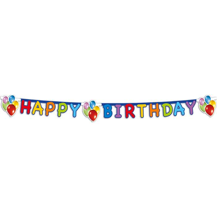 Happy birthday banner fra globos nordic fra temashop.dk