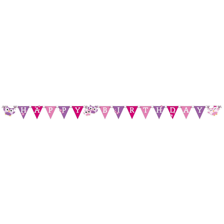 amscan Happy birthday banner, ugle fra temashop.dk