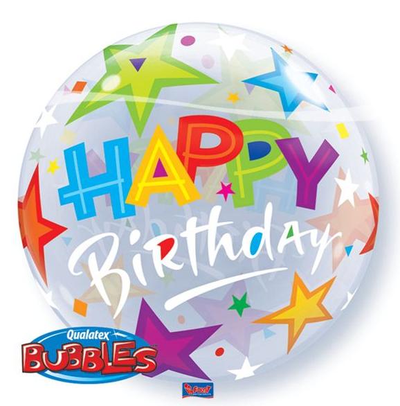 Fødselsdag bubble ballon, stjerner fra folat fra temashop.dk