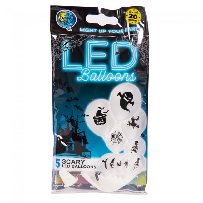 Hvide Halloween LED Balloner