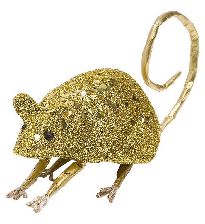Lille glitter mus, guld