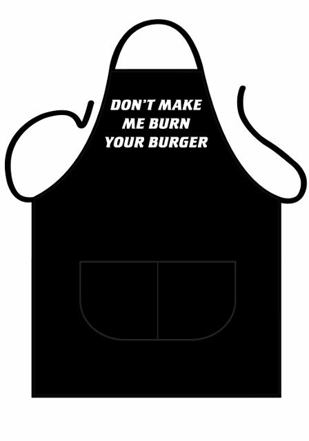 partychimp Black apron deluxe - don't make me burn fra temashop.dk